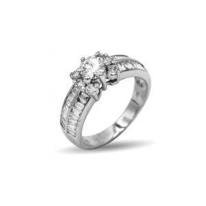 18 Karaat witgoud /  Diamanten 0,58ct