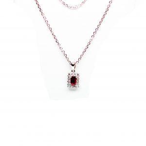 18 Karaat wit goud / Halsketting met hanger / Diamanten 0.28ct/Robijn