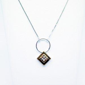 18 Karaat wit/geel goud / Ketting met hanger / Diamanten 0.08ct