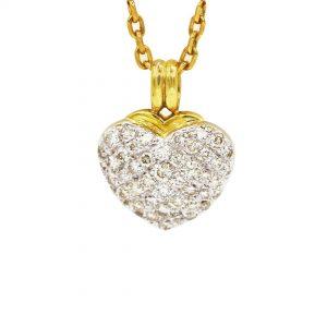 18 Karaat goud Ketting / Hartje  wit/geel  goud / Diamanten 1,22 ct