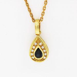 18 Karaat goud / Ketting met haart / Diamanten 0,32ct / saffier