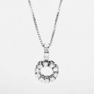 18 Karaat witgoud / Ketting met hanger / Diamanten  0,66ct