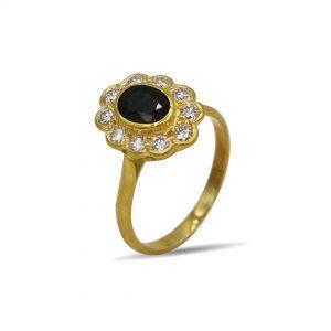 18 Karaat goud / Diamanten 0,51ct / Saffier 1,26 karaat