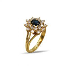 18 Karaat goud / Diamanten 1,04ct / saffier 0,83ct