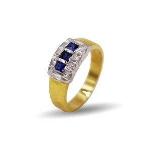 18 Karaat wit/geel goud / Diamant 0,64ct / 3xSaffier 0,33ct