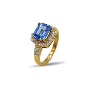 18 Karaat goud / Diamant 0,04 ct / topaz