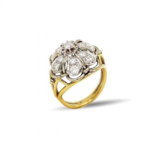 18 Karaat wit/geel goud / Diamant 1,42ct