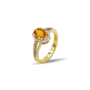 18 Karaat goud / Diamant 0,32ct / Citrin