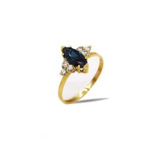 18 Karaat goud / Diamanten 0,52ct / Saffier 1.39ct