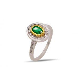 18 Karaat wit/geel goud / Diamanten 0,72ct / Smaragd 1,12ct