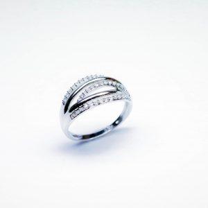 18 Karaat wit goud / Diamanten 0.28ct