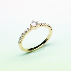 18 Karaat geel goud / Diamanten 0.46ct